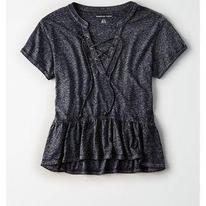 American Eagle Lace-Up Peplum T-shirt Black Grey